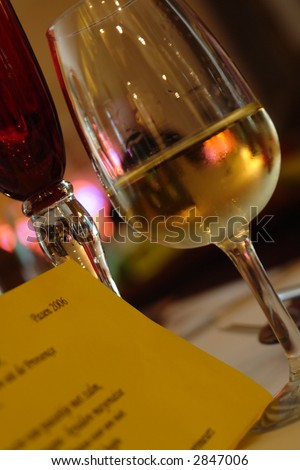 Menu at dinner table - stock photo