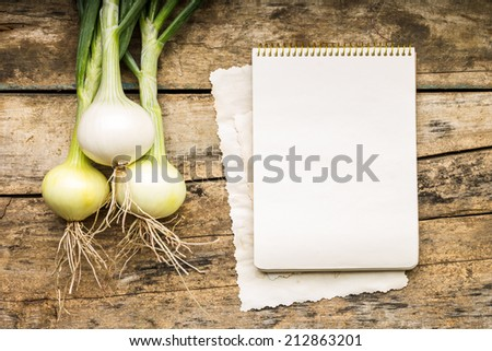 Menu background. Vegetables on table with cook book. Cooking with recipe book. Onion. - stock photo