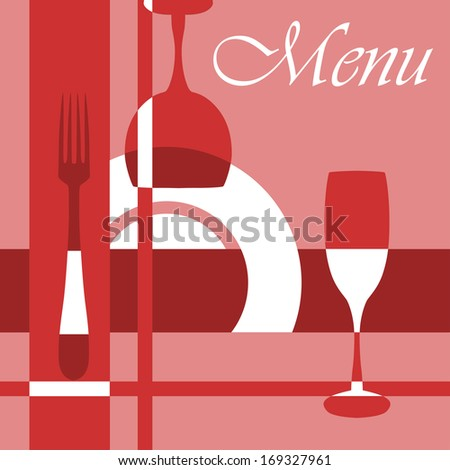 Menu background with dishware and glasses in red and pink colours. Vector version also available in gallery