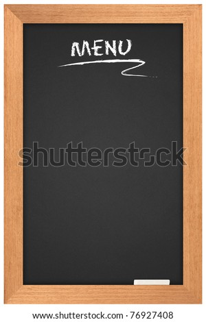 Menu blackboard. a space for writing on a black background. - stock photo