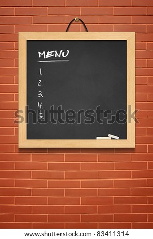 MENU blackboard on brown wall background
