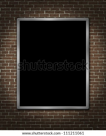 Menu board billboard on a brick wall as a blank metal framed poster advertisement and marketing promotion found in restaurants on an urban city street scene. - stock photo