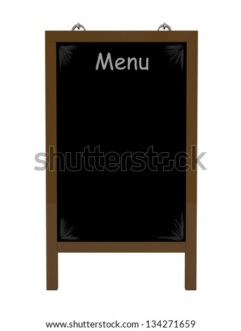 Menu Board isolated on white - 3d illustration - stock photo