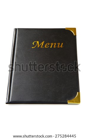 Menu book in black tone isolated on white - stock photo