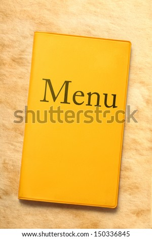 Menu book on stained paper