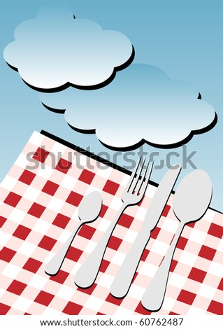 Menu Card Background - Gingham Table Cloth and Cutlery under Blue Sky - stock photo