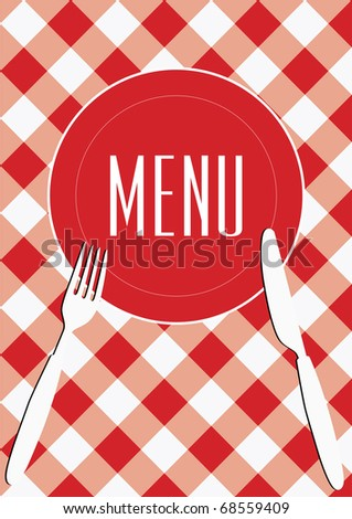 Menu Card Background - Red And White Gingham & Cutlery - stock photo