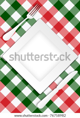 Menu Card Design - Red and Green Gingham Texture With Plate - stock photo