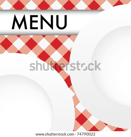 Menu Card - White Plates on Red and White Gingham Texture - stock photo