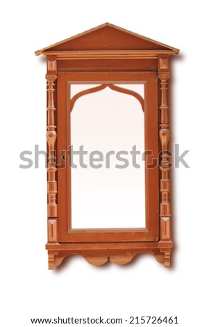menu carved board frame wooden - stock photo