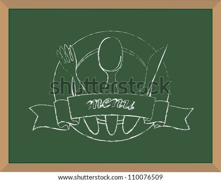 Menu chalk illustration raster - stock photo