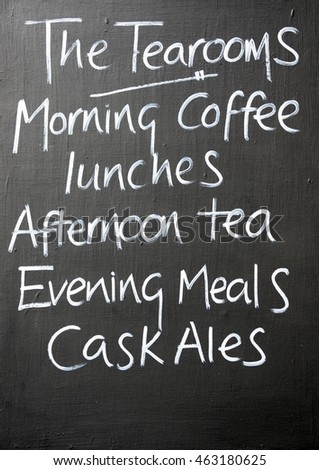 Menu chalkboard for a cafe and pub, Burford, Cotswolds, Oxfordshire, England, UK, Western Europe.