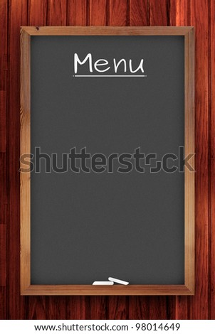 menu chalkboard on wooden background