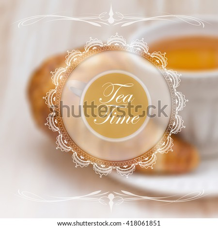 Menu design template with tea cup and lace napkin  - stock photo