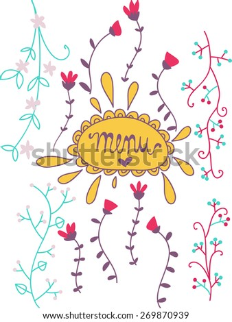 menu illustrated decorated cover