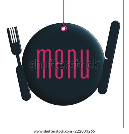 Menu label, setting of table engraved menu, fixed by a rivet and hung on by a pink thread, isolated on white background - stock photo