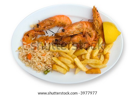Menu of shrimp, rice and french fries