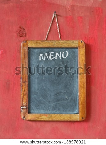 menu on blackboard, free copy space - stock photo