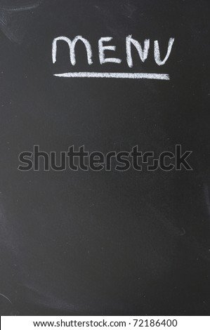 Menu on the blackboard showing what is available. - stock photo