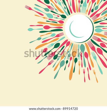 Menu restaurant background. Fork, knife and spoon silhouettes on different sizes and colors around white dish. - stock photo