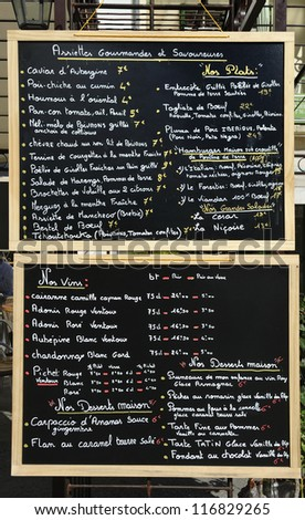Menu sign outside a restaurant in France