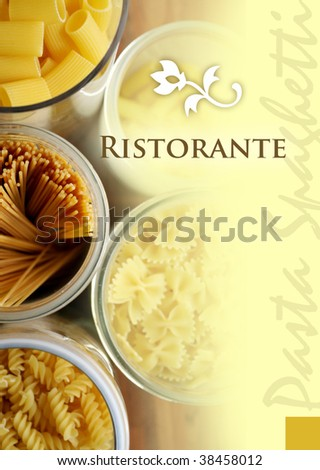menu title of an italian pasta restaurant - stock photo