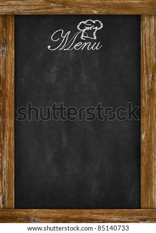 menu writing on chalkboard with space - stock photo