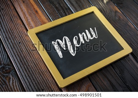 Menu Written In Chalk On Chalkboard On Rustic Vintage Wood Background. Selective Focus.