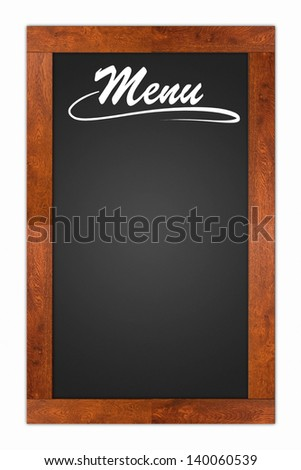 Menu written on a blank blackboard with wooden frame isolated on white background - stock photo