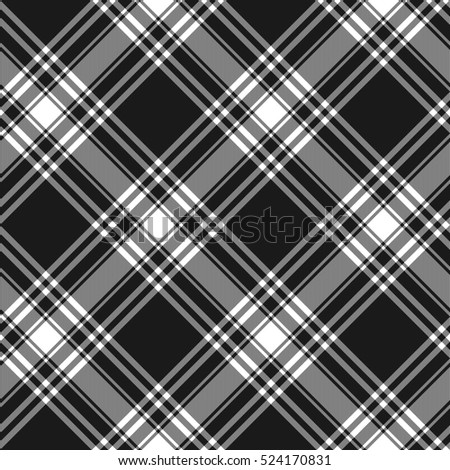 Menzies tartan black kilt diagonal fabric texture background seamless pattern