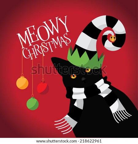 Meowy Christmas cat with silly hat and scarf - stock photo
