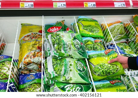 MEPPEN, GERMANY - MARCH 2, 2016: Food Packages in Freezer. Various frozen Vegetables packings in a Kaufland Hypermarket.  - stock photo