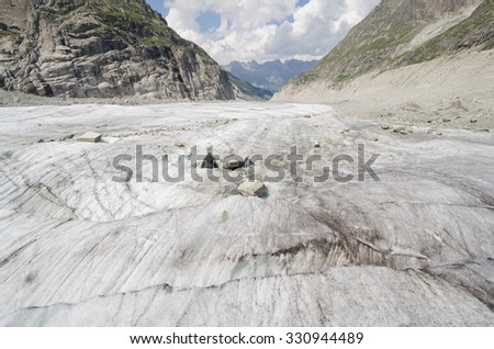 Mer-de-glace glacier and mountains landscape in the french Alps - stock photo
