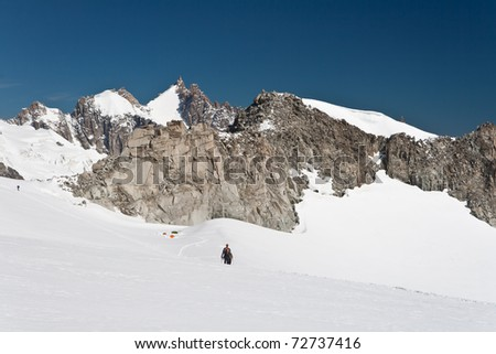 Mer de glace glacier from Herbronner peak, mont blanc massif - stock photo