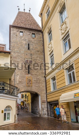 MERANO,ITALY - SEPTEMBER 2,2015 - Stone Tower - Gate in Merano. Merano is a town and commune in South Tirol, northern Italy.