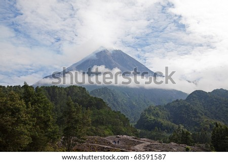 Merapi volcano on Java island before eruption (August 2010) - stock photo