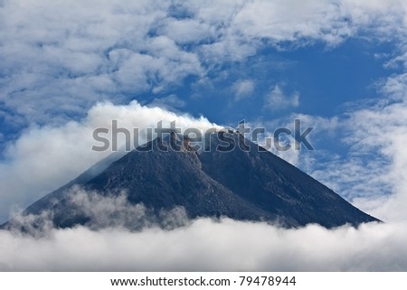Merapi volcano on the Java island, Indonesia. Few month before eruption in October 2010. - stock photo