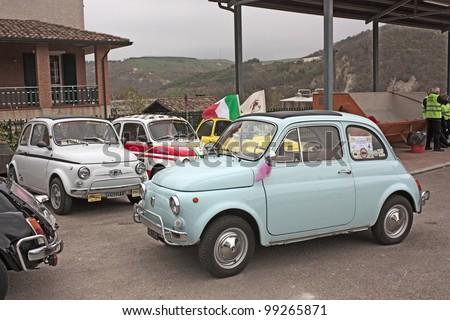 "MERCATO SARACENO (FC) ITALY - APRIL 1: old italian cars at "" Fiat 500 day of Forlimpopoli"", rally of vintage small car Fiat 500, on April 1, 2012 in Mercato Saraceno (FC) Italy - stock photo"