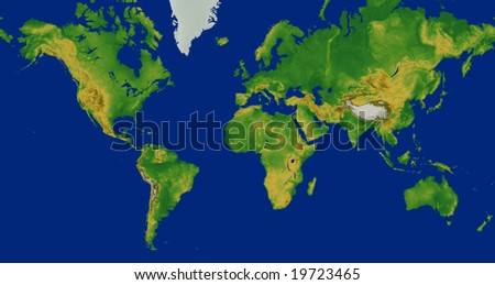 Topographic world map stock images royalty free images vectors mercator world map with terrain europe centered sciox Choice Image