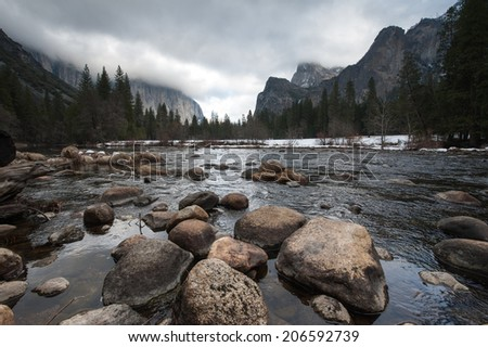 Merced river in Yosemite National Park - stock photo