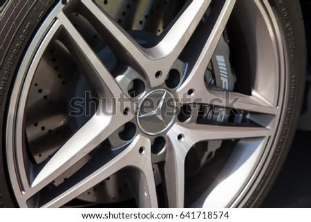 Mercedes benz c63 amg wheels cupertino stock photo for Mercedes benz cupertino