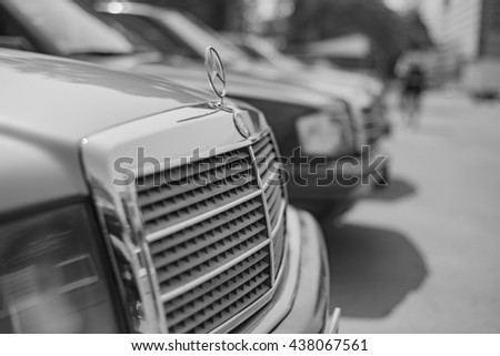 Mercedes Benz 190E rally to hua hin on May 29, 2016 in Prachuap Khiri Khan , Thailand. black and white.