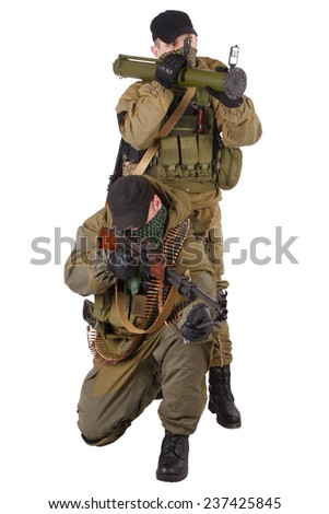 mercenaries with AK 47 and rocket launcher  isolated on white background
