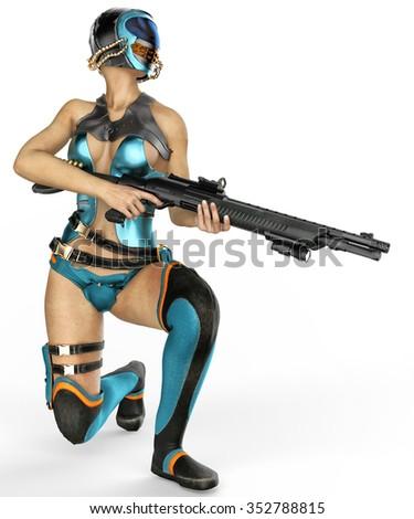mercenary girl taking over - stock photo