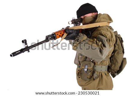 mercenary sniper with SVD rifle isolated on white background - stock photo