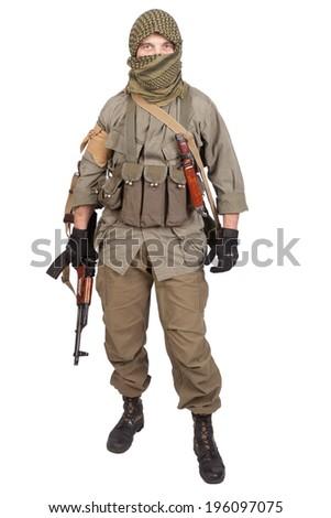 mercenary with AK 47 gun - stock photo