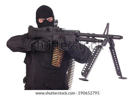 mercenary with M60 machine gun - stock photo