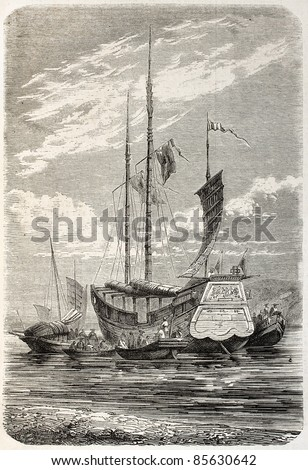 Merchant junk stern view, old illustration. Created by Gaildrau, published on L'Illustration, Journal Universel, Paris, 1860 - stock photo