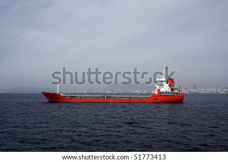 Merchant ship anchored