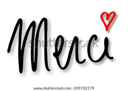 merci, thank you in french language - stock photo